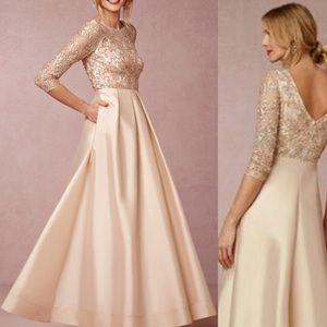 Aidan Mattox BHLDN Viola gown blush color